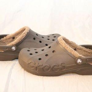 Mens Crocs Brown & Tan Fleece Fur Lined Clogs Shoe